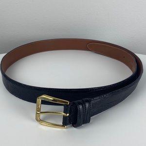 Allen Edmonds Black Teju Lizard Skin Belt